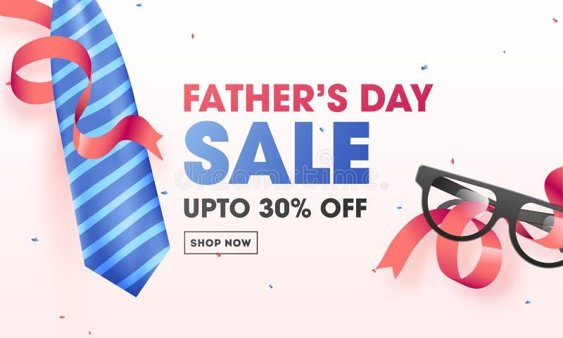 父亲节销售与30%折扣提议的横幅或海报设计 库存例证