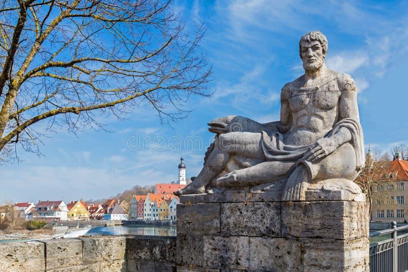 父亲莱希河在Landsberg,德国 库存照片