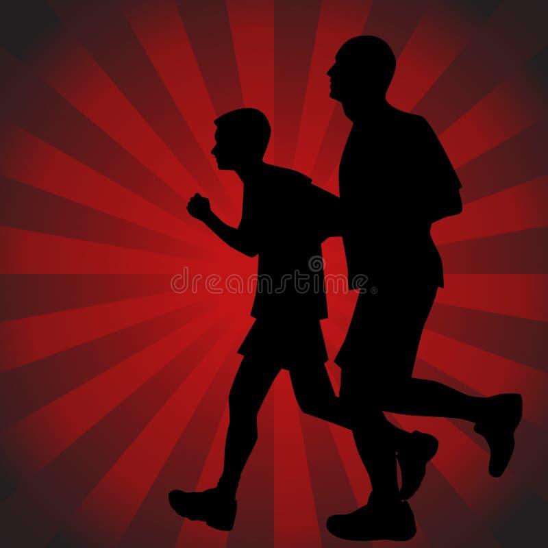 父亲赛跑者儿子 皇族释放例证