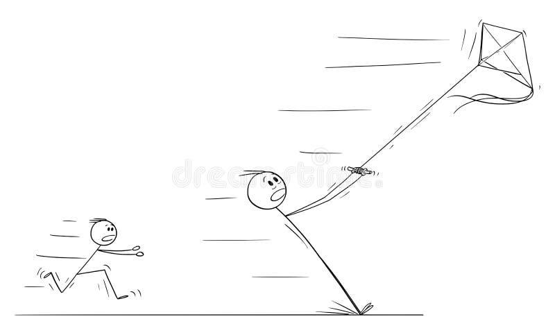父亲飞行风筝传染媒介动画片和离开在强风 皇族释放例证