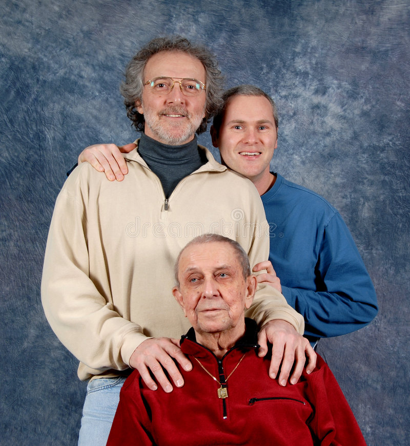 父亲granfather儿子 免版税库存照片