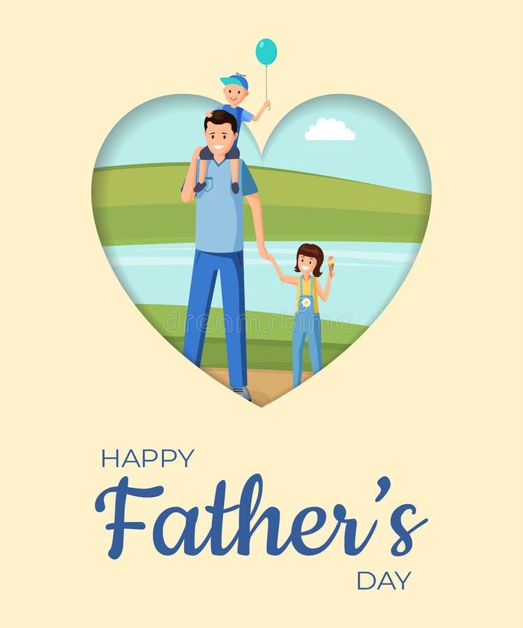 父权假日平的横幅传染媒介布局 愉快的育儿,欢乐贺卡动画片概念 家庭庆祝 库存例证