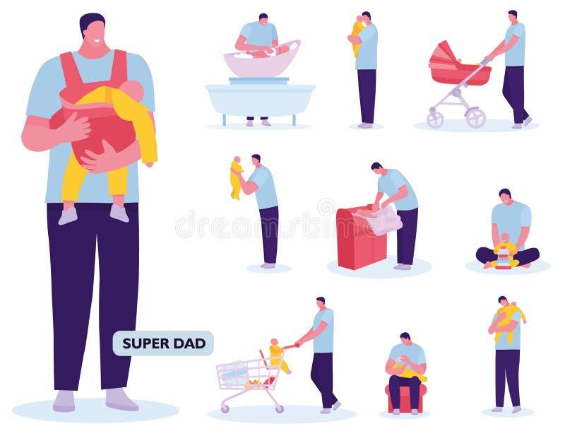 父权演奏走与婴孩的带孩子购物 o 在一部平的动画片的传染媒介例证 库存例证