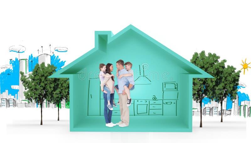 父母侧视图的综合图象背上给乘驾的孩子 免版税库存照片
