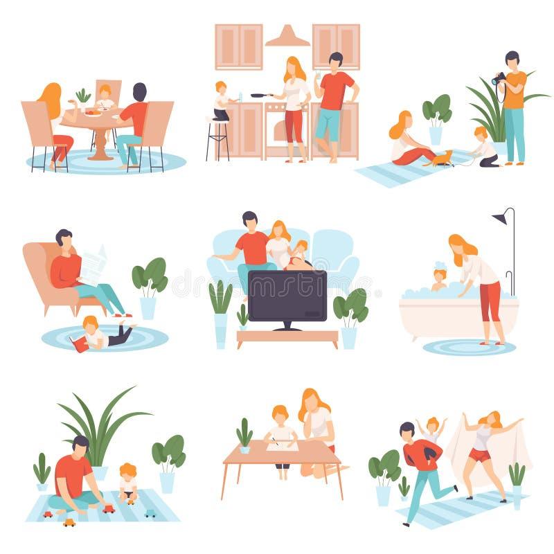 父母和他们的孩子在日常生活中在家设置了,烹调的家庭,吃,看书,看着电视,打比赛 皇族释放例证