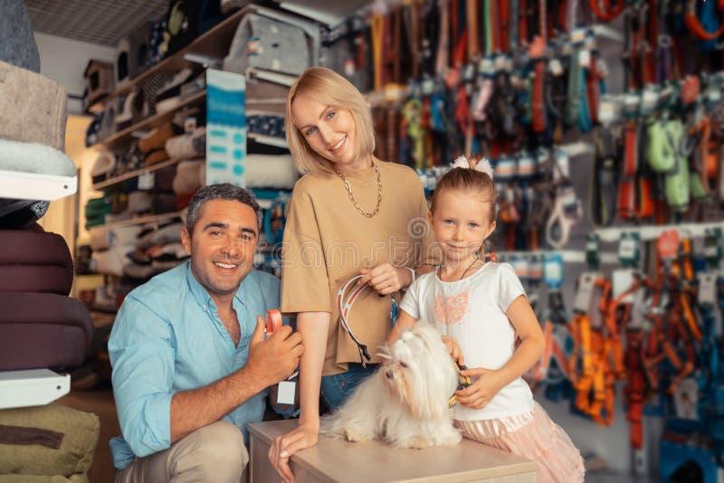 父母和女孩感觉愉快在发现他们的狗的狗项圈以后 库存图片