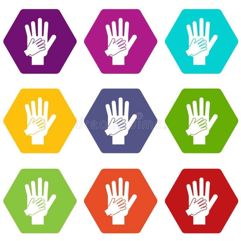 父母和孩子一起递象集合颜色hexahedron 库存例证