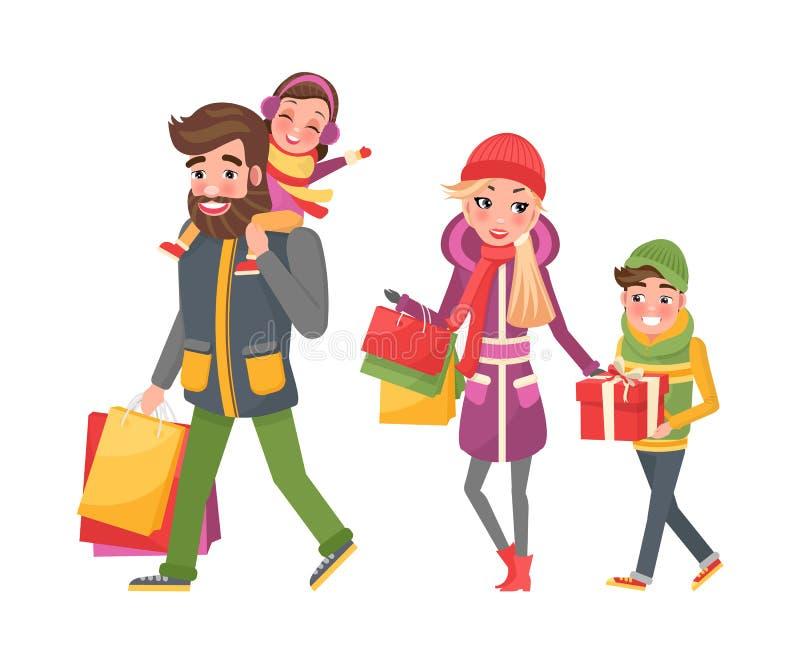 父母和孩子,袋子有很多Xmas礼物 皇族释放例证