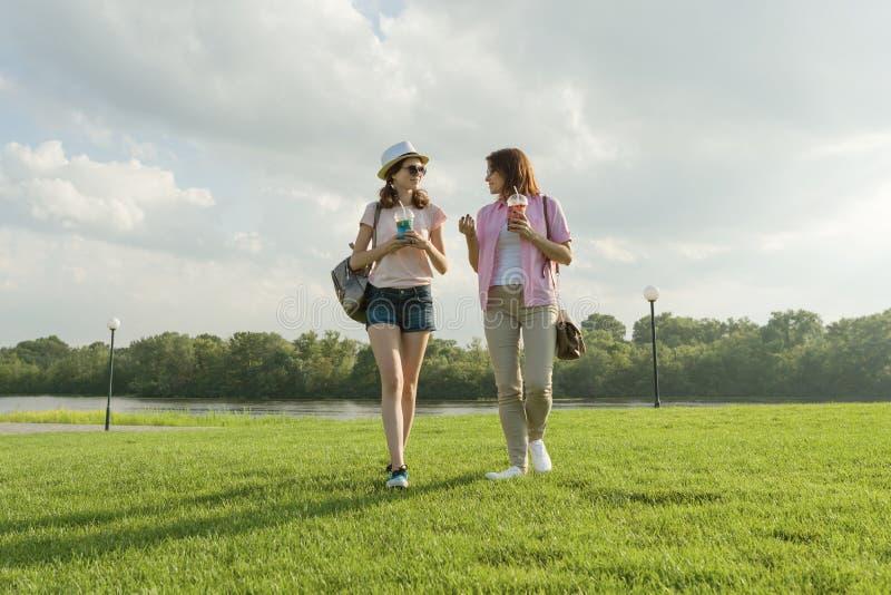 父母和少年的通信 母亲与她青少年的女儿谈话14年,走在公园附近在晴朗的夏天 免版税库存照片