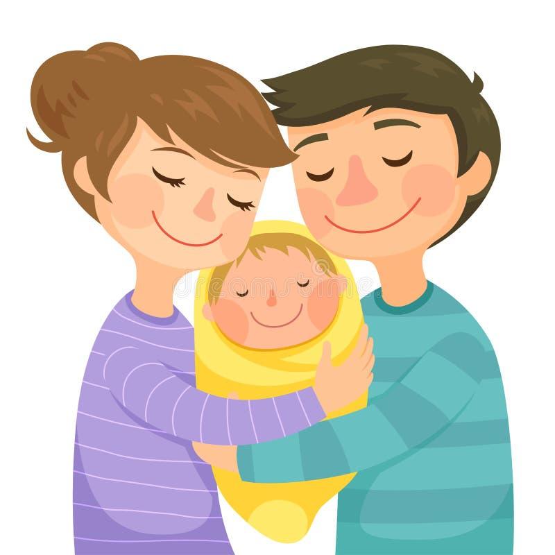 父母和婴孩 库存例证