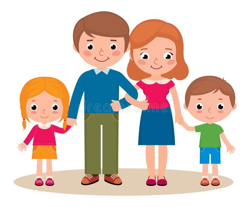 父母和他们的孩子家庭画象  库存例证