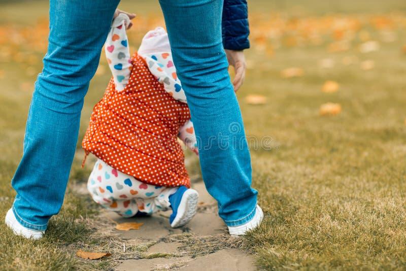 父母培养跌倒做第一步的他的女儿 学会的女婴在秋天公园走 回到视图 免版税图库摄影