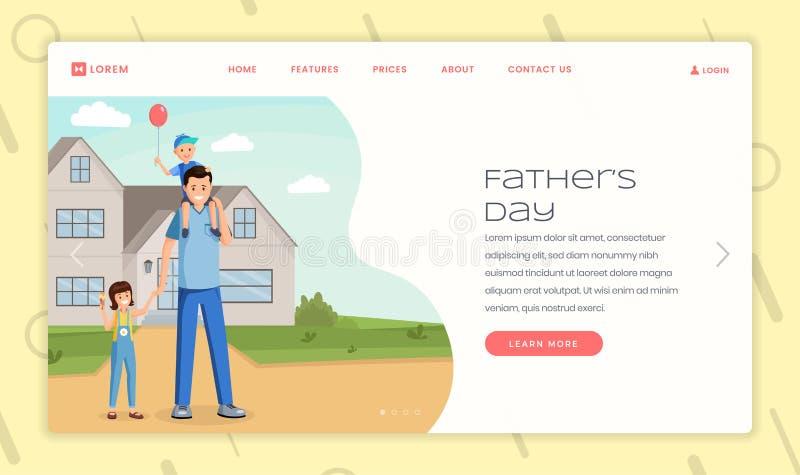 父母身分假日登陆的页传染媒介模板 父亲节,父权网站主页与舱内甲板的接口想法 库存例证