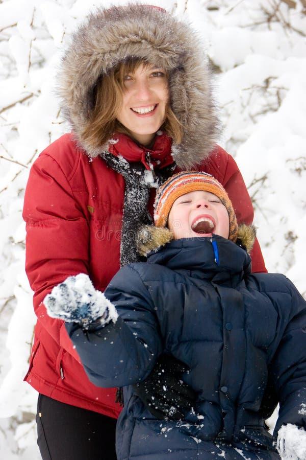 父母身分冬天 免版税图库摄影