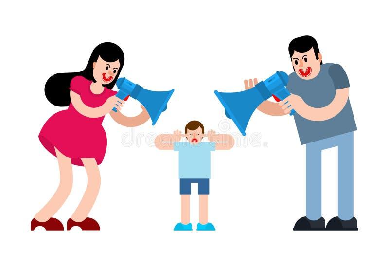 父母通过扩音机呼喊在孩子 男人和妇女发誓 在男孩的爸爸和妈妈尖叫 库存例证