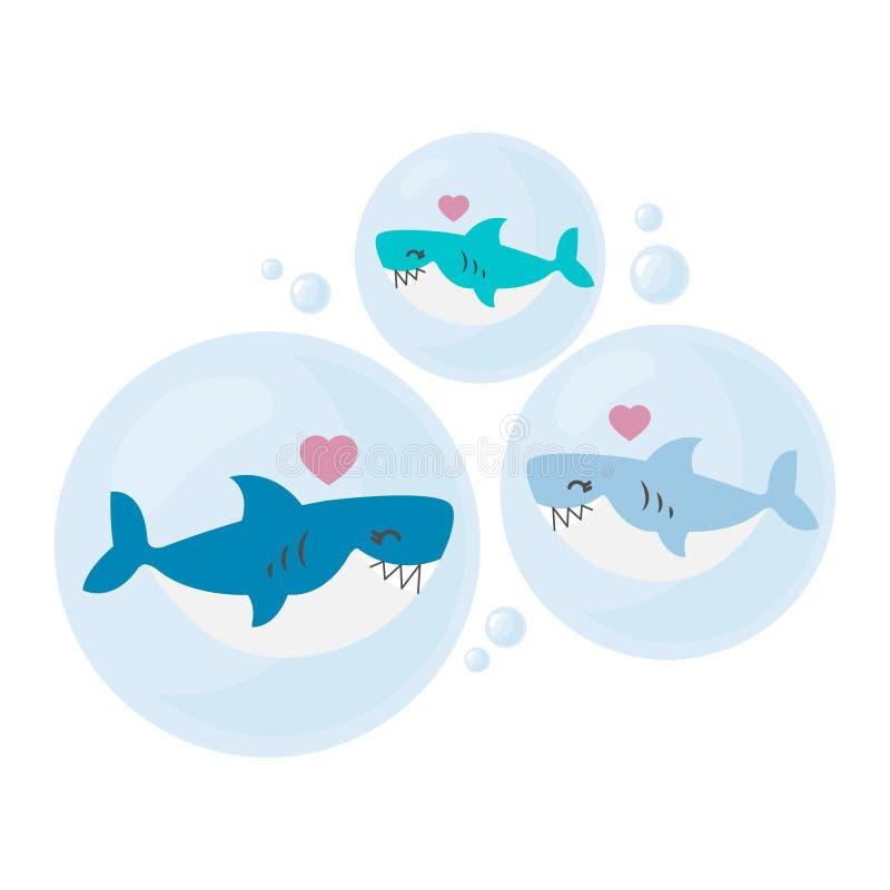 爸爸、妈妈和婴孩鲨鱼动画片 库存例证