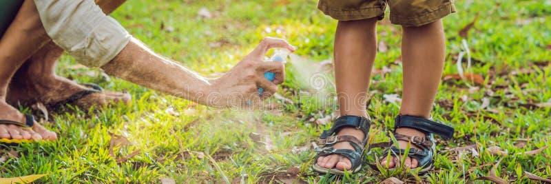 爸爸和儿子用途蚊子浪花 在皮肤室外横幅,长的格式的喷洒的杀虫剂 库存照片