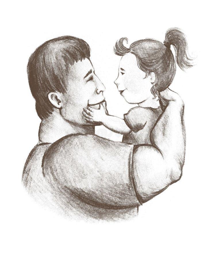 爸爸和女儿 父权 童年 父亲感觉 对子项的爱 库存例证