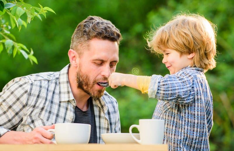 爸爸和男孩吃和互相喂养户外 方式开发健康饮食习惯 喂养您的婴孩 自然营养 免版税图库摄影
