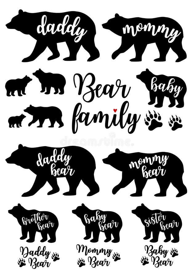 爸爸熊,妈妈熊,婴孩熊,传染媒介集合 库存例证