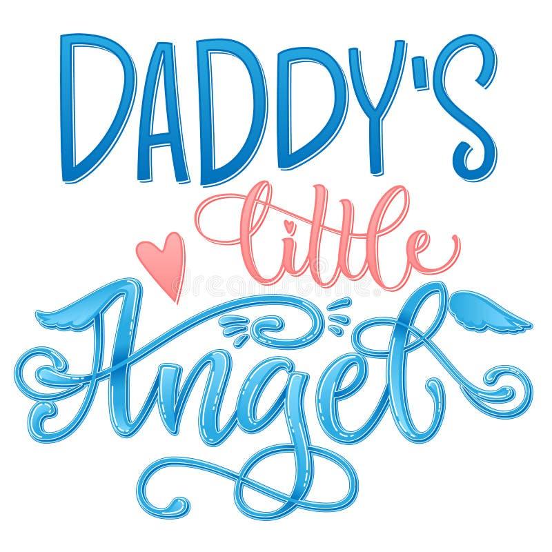 爸爸的小的天使行情 婴儿送礼会手拉的书法剧本,奇怪窗框字法词组 免版税库存图片