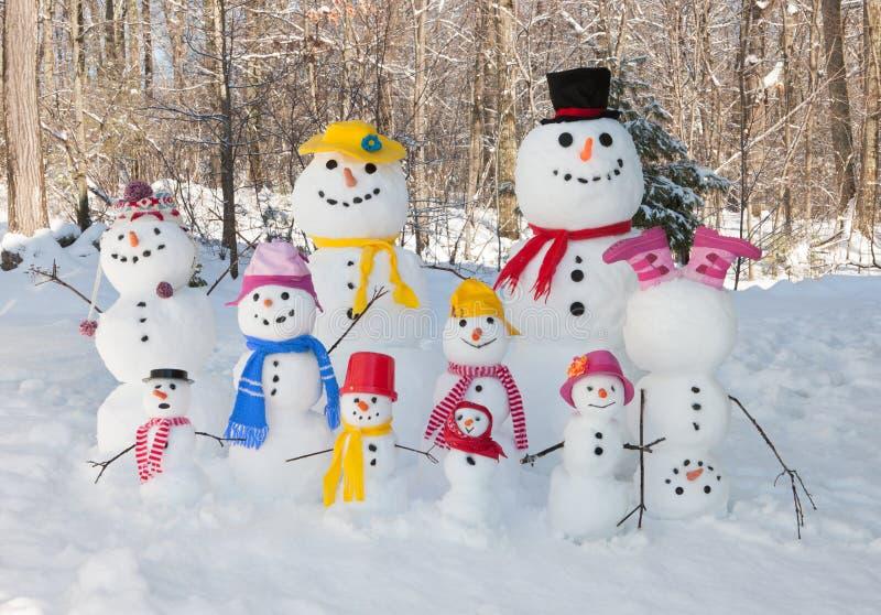 爸爸跌倒系列妈咪户外微笑的雪雪人儿子冬天 图库摄影