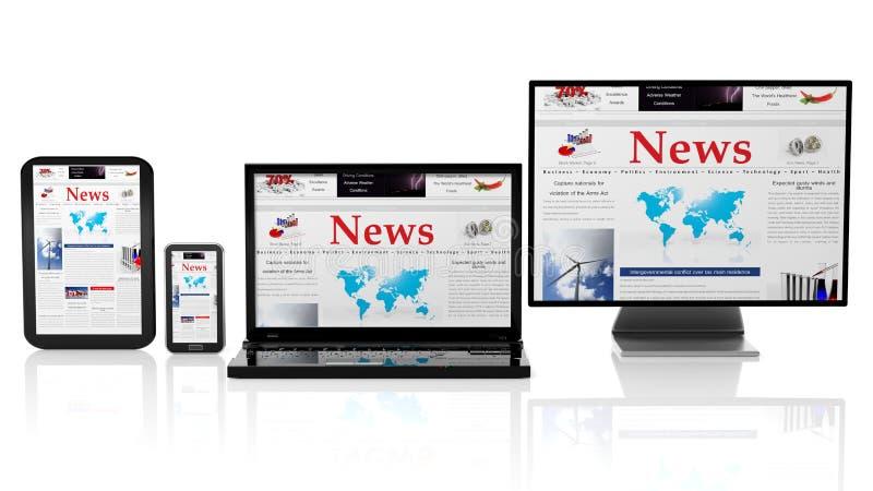 片剂、智能手机、膝上型计算机和显示器与新闻网站在屏幕上 向量例证