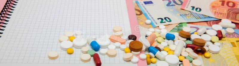 片剂、药片、胶囊、笔记本和钞票欧元 自疗程,社会医学,可及性,在PR的上升的概念 库存照片