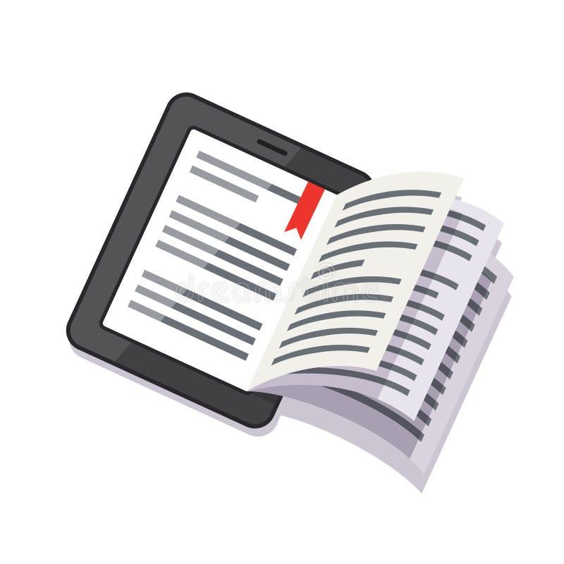 片剂与书转动的页的计算机概念 向量例证