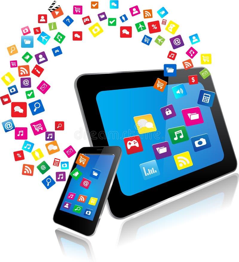 片剂个人计算机和巧妙的电话有apps的 库存例证