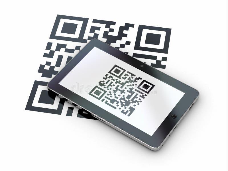 片剂个人计算机扫描qr编码。 3d 库存例证