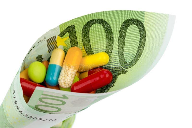 片剂和一百欧元票据 库存图片