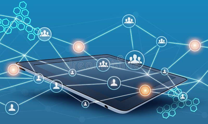片剂和人配合网络连接线 皇族释放例证