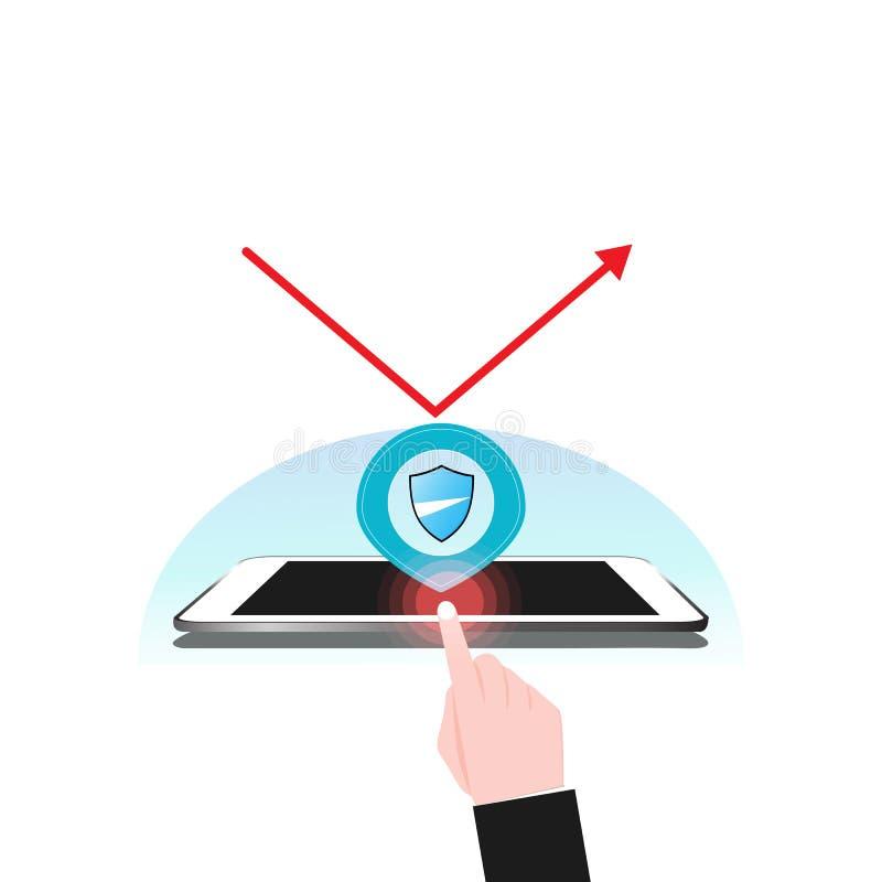片剂和手机保障系统盾保护V 向量例证