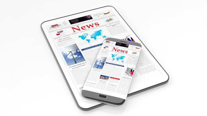 片剂和智能手机有新闻网站的 向量例证