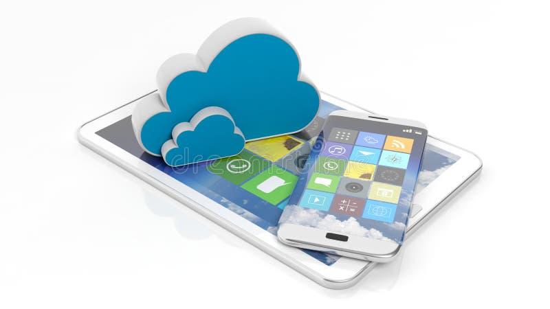 片剂和智能手机有方形的apps和云彩象的 向量例证