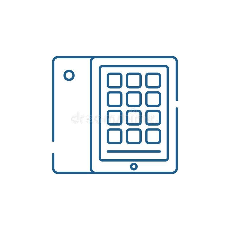 片剂和案件线象概念 片剂和案件平的传染媒介标志,标志,概述例证 库存例证