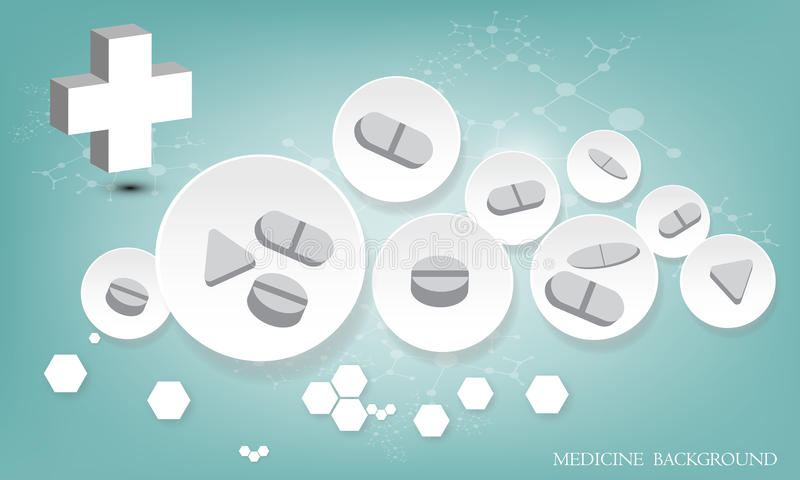 片剂和药片在3D圈子背景 也corel凹道例证向量 库存例证