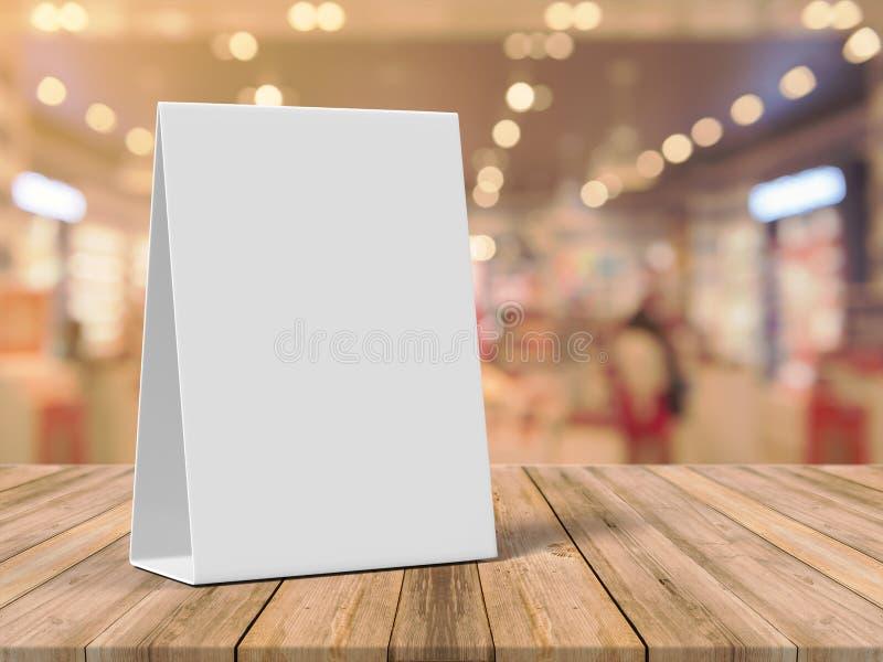 片剂帐篷健谈的人增进菜单卡片白色空白空嘲笑设计和模板3d翻译的 库存图片