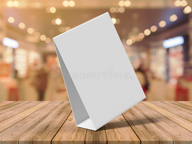 片剂帐篷健谈的人增进菜单卡片白色空白空嘲笑设计和模板3d翻译的 库存照片