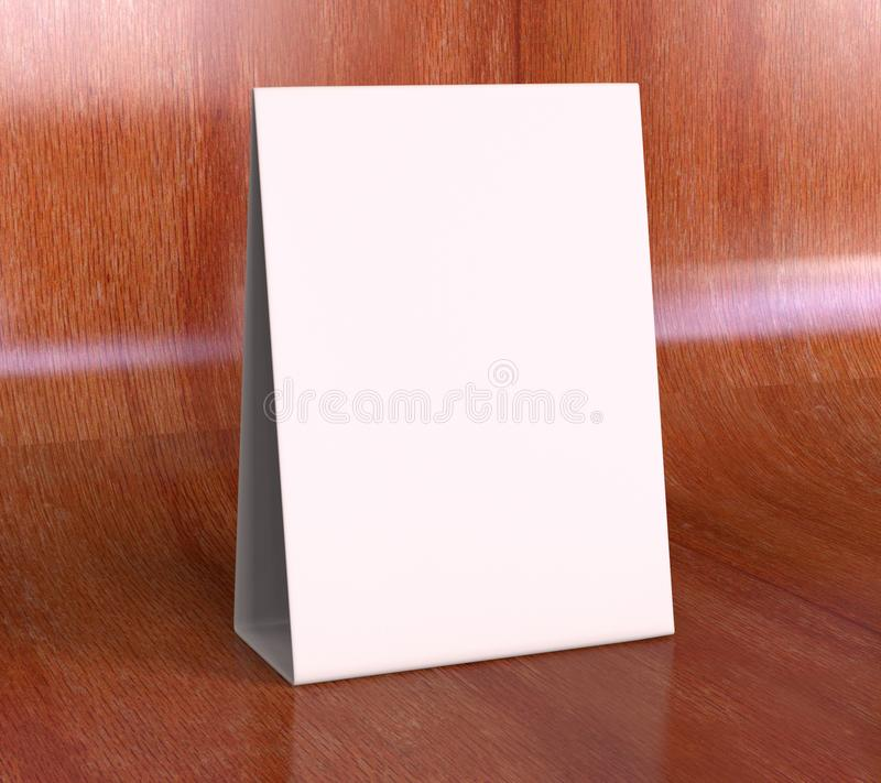 片剂帐篷健谈的人增进菜单卡片白色空白空嘲笑设计和模板3d翻译的 免版税库存图片