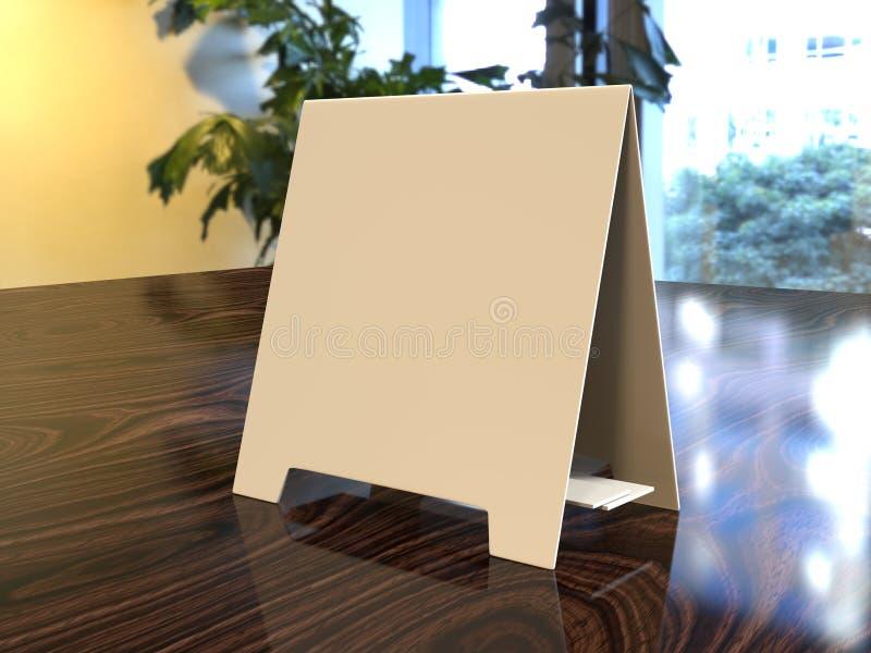 片剂帐篷卡片健谈的人增进菜单卡片白色空白空嘲笑设计和模板3d翻译的 免版税库存图片