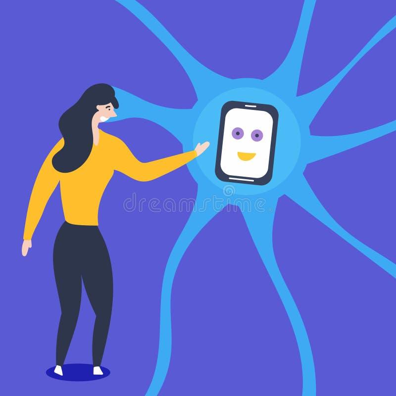 片剂散发人为神经元 女孩与人为神经元互动 向量例证