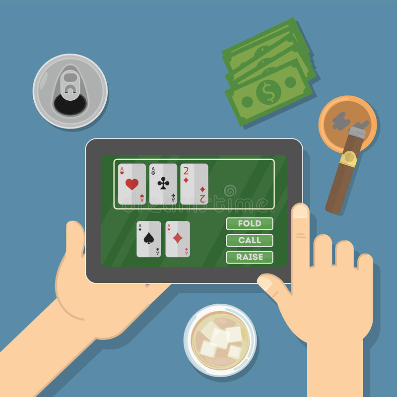 片剂的网上赌博娱乐场 库存例证