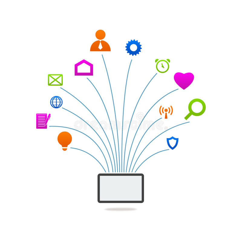 片剂网上通信象网标志 向量例证
