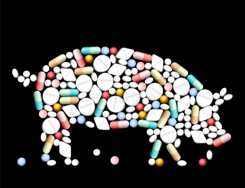 片剂药片猪 向量例证