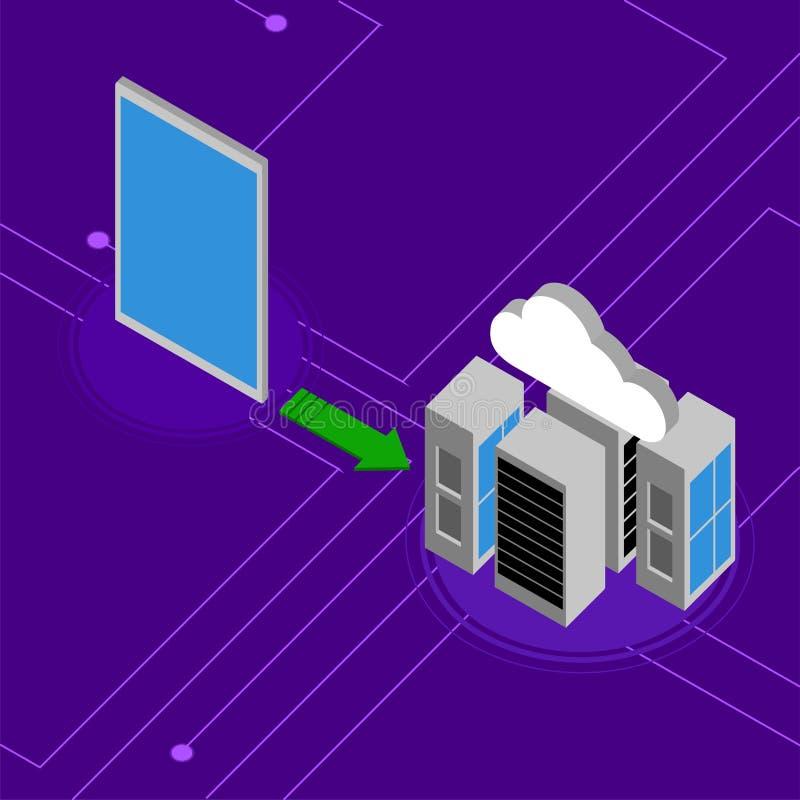 片剂被连接到3d cloudc omputing的网络 库存例证