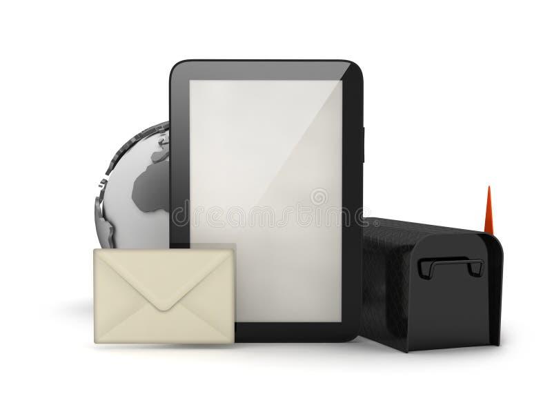 片剂计算机、信封和邮箱 向量例证