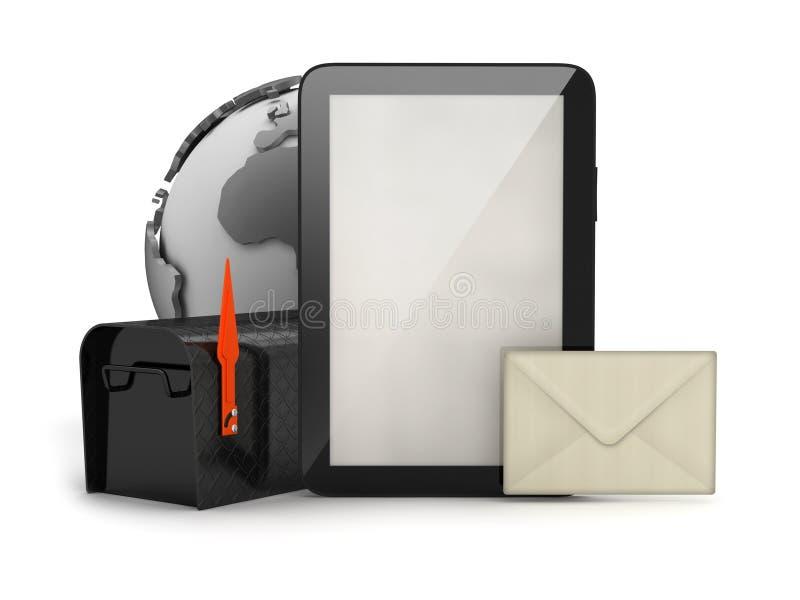 片剂计算机、信封和邮箱 皇族释放例证