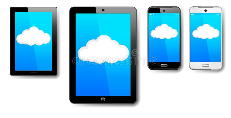 片剂,计算机,电话,细胞,聪明,流动,云彩连接 皇族释放例证